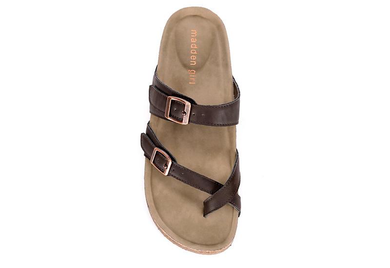 MADDEN GIRL Womens Bryceee Footbed Sandal - DARK BROWN