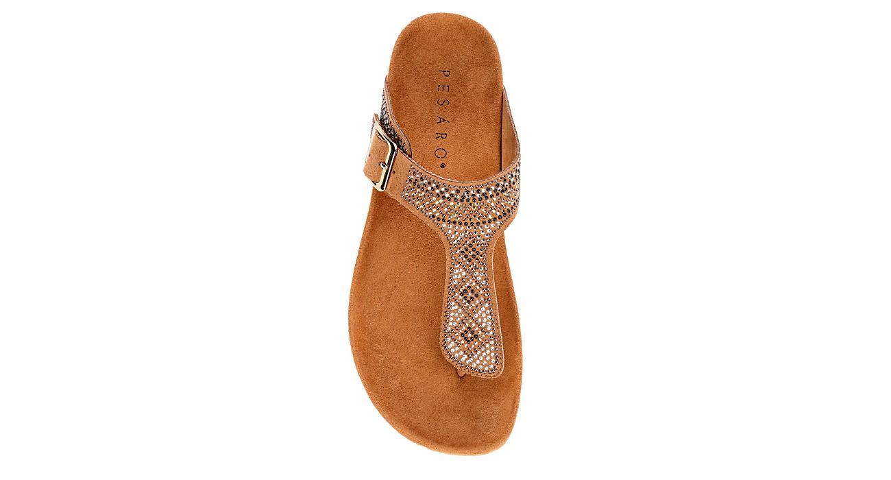 PESARO Womens Claire Flip Flop Sandal - BROWN