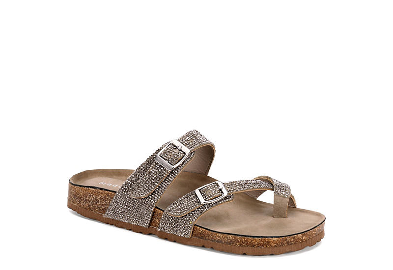 MADDEN GIRL Womens Bryceee Footbed Sandal - PEWTER