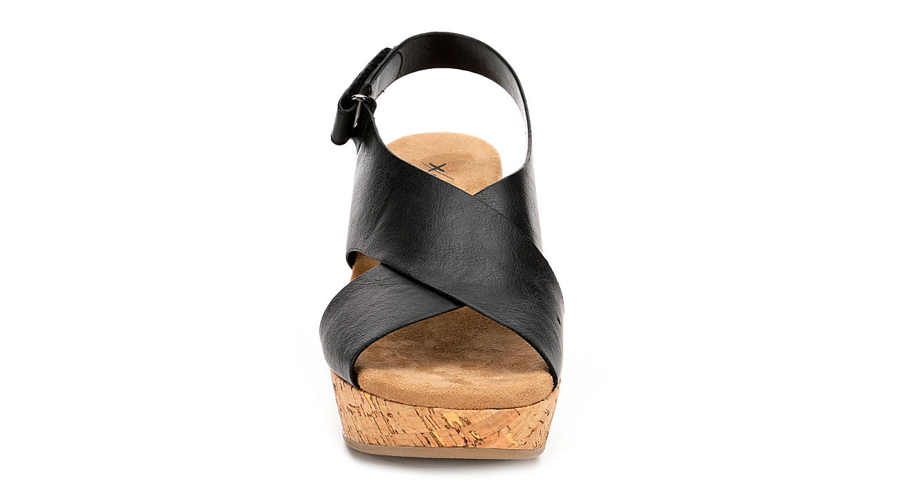 XAPPEAL Womens Gabrielle Wedge Sandal - BLACK
