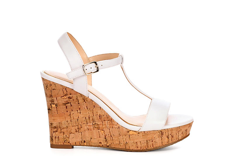 MICHAEL BY MICHAEL SHANNON Womens Libby Wedge Sandal - WHITE