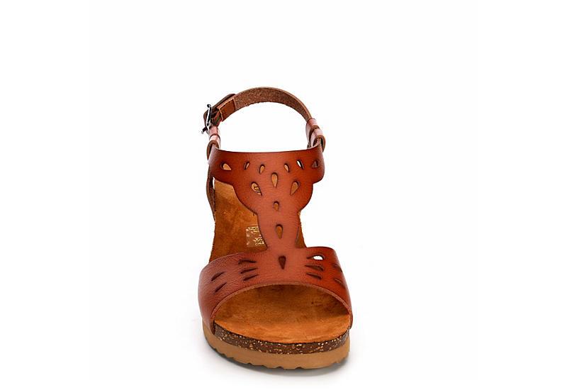 BJORNDAL Womens Luna Wedge Sandal - COGNAC