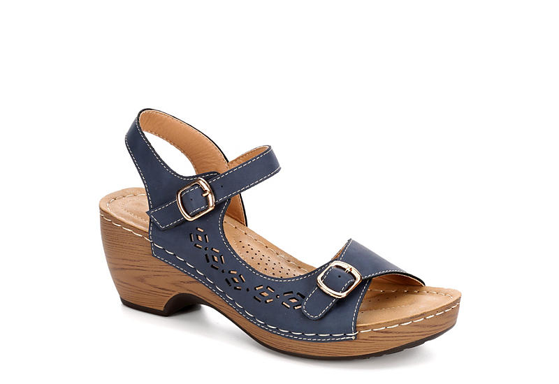PATRIZIA Womens Shantay Wedge Sandal - NAVY