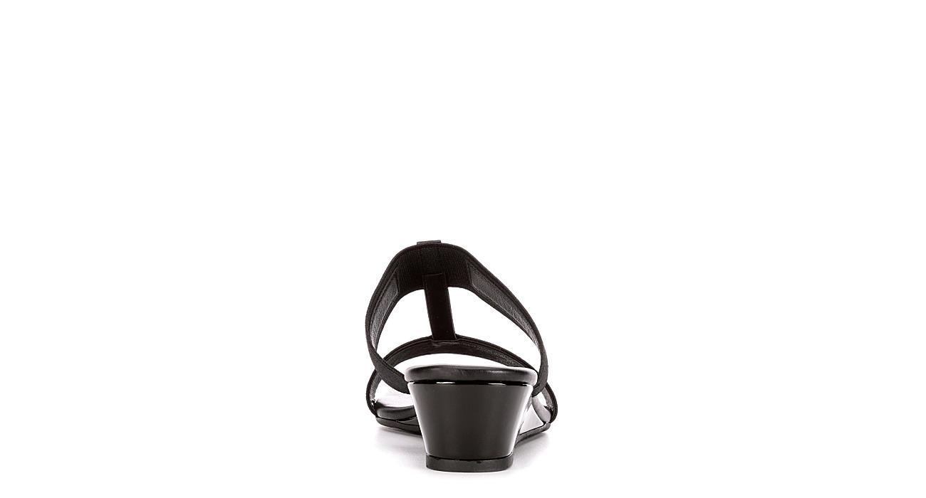 PESARO Womens Sandy Wedge Sandal - BLACK