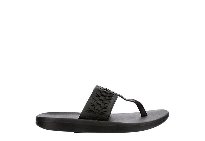 NIKE Womens Bella Kai Woven Flip Flop Sandal - BLACK