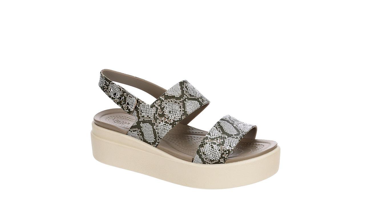 CROCS Womens Brooklyn Wedge Sandal - SNAKE