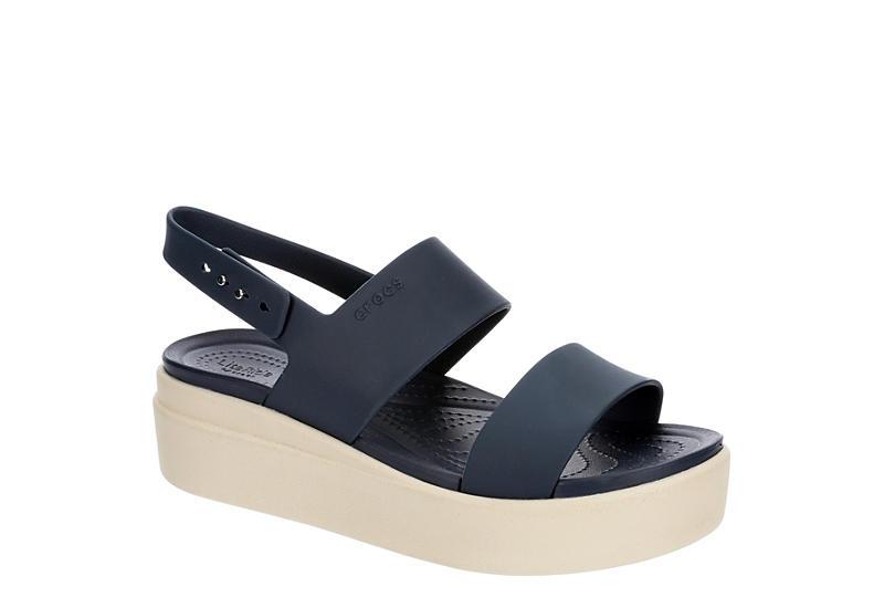 CROCS Womens Brooklyn Wedge Sandal - NAVY