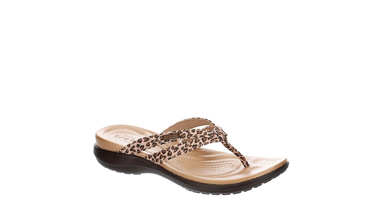 CROCS Womens Capri Strappy Flip Flop Sandal - LEOPARD