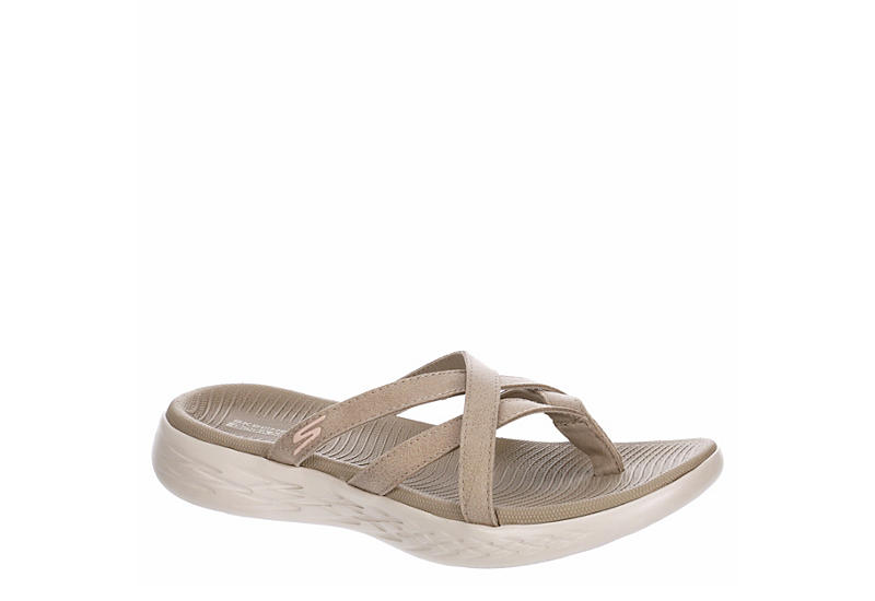 SKECHERS Womens On-the-go 600 Flip Flop Sandal - TAUPE