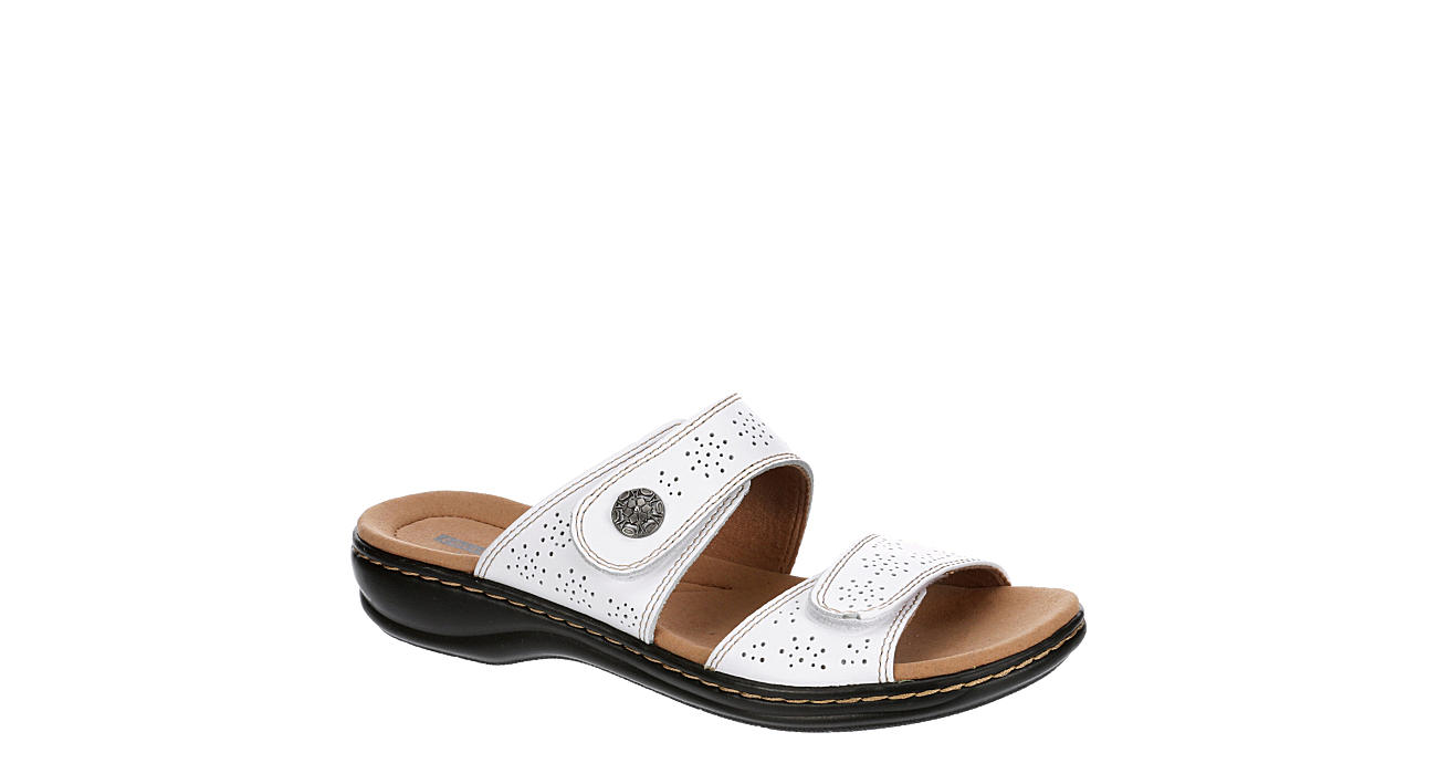 CLARKS Womens Leisa Lacole Slide Sandal - WHITE