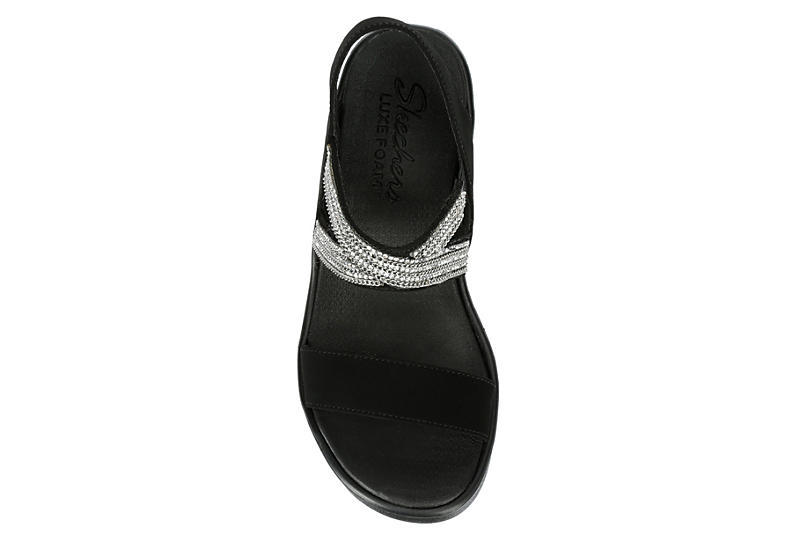 SKECHERS CALI Womens Chart Topper Wedge Sandal - BLACK