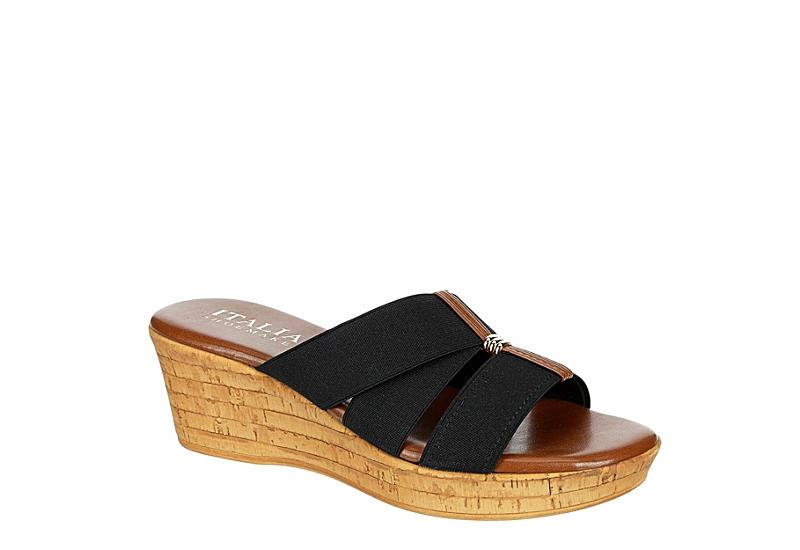ITALIAN SHOEMAKERS Womens Tayden Wedge Sandal - BLACK