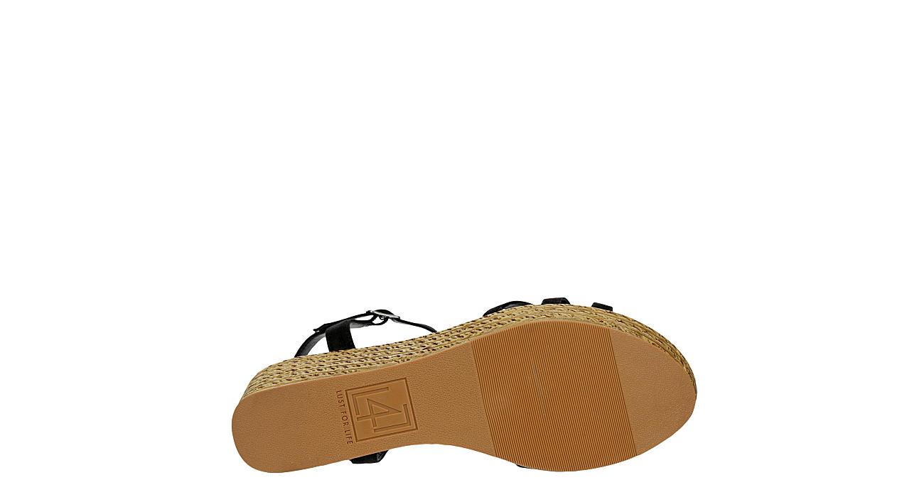 L4L Womens Axel Wedge Sandal - BLACK