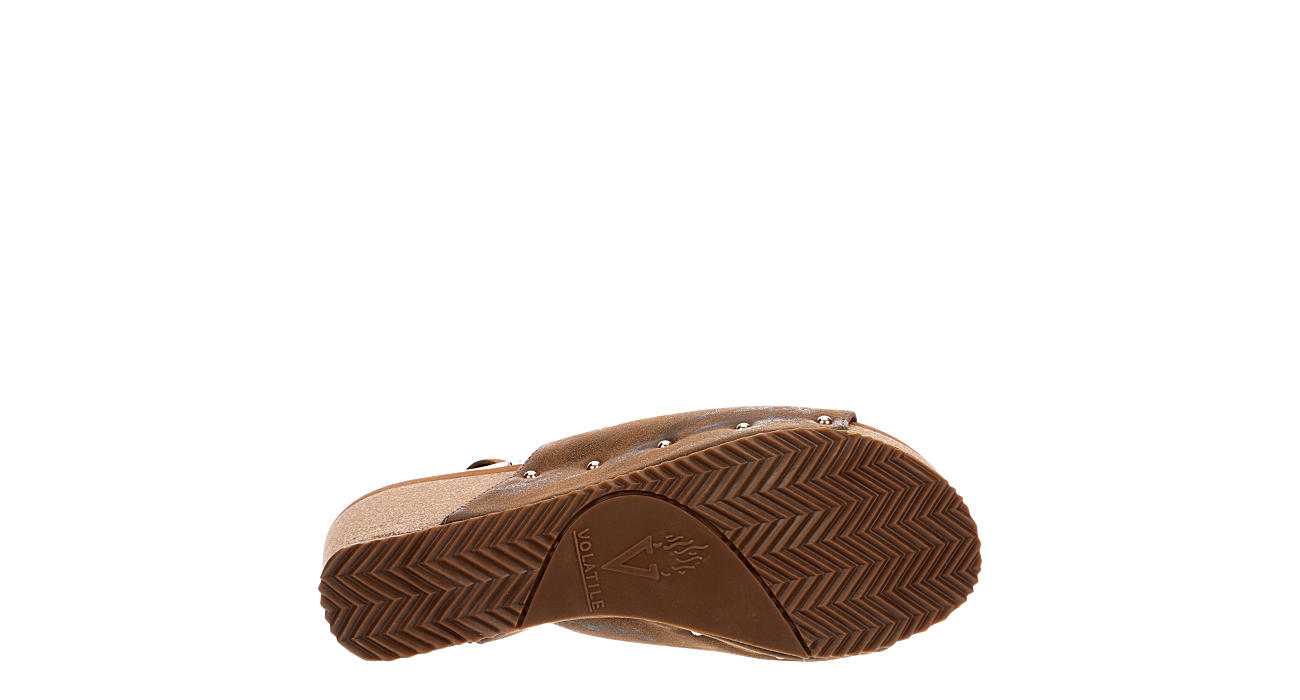 VOLATILE Womens Genesee Wedge Sandal - CHOCOLATE
