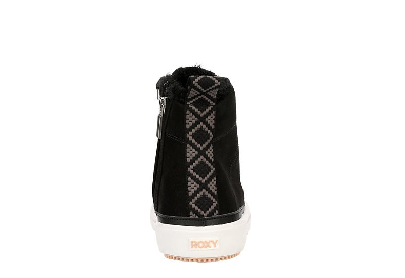 ROXY Womens Ivan Fur High Top Sneaker - BLACK