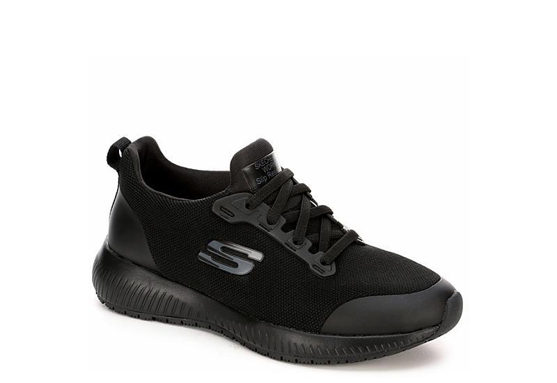 8a08f5f816 Black Skechers Women's Squad Sr Work Non-Slip Shoes | Rack Room Shoes