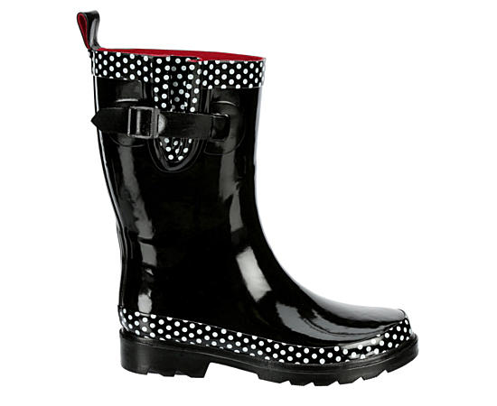 Womens Polka Dot Trim Rain Boot