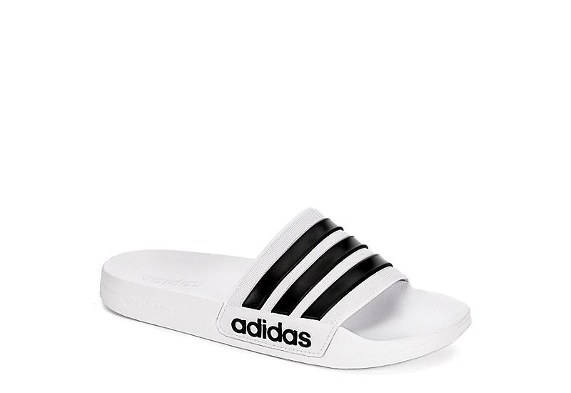 WHITE ADIDAS Mens Adilette Shower Slide Sandal