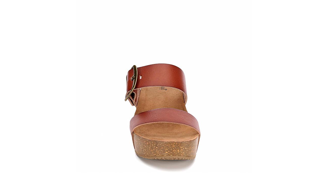 BJORNDAL Womens Daisy Wedge Sandal - COGNAC