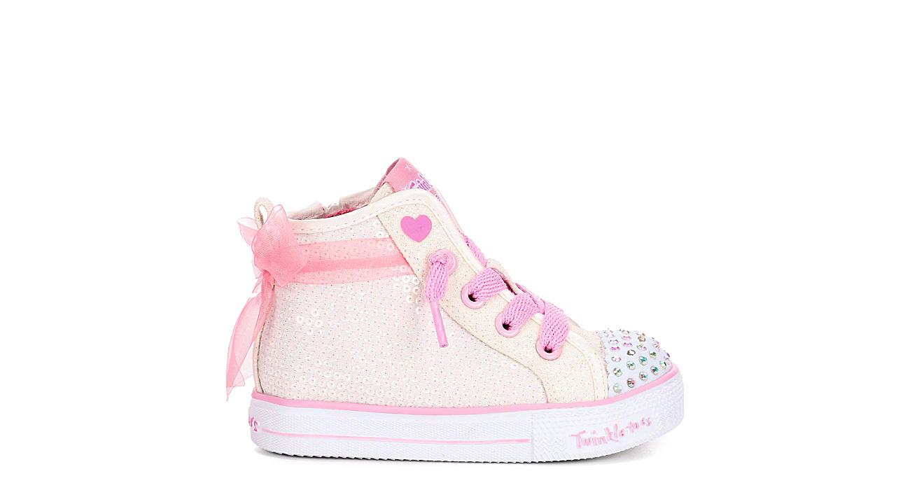 SKECHERS Girls Infant Twinkle Toes Shuffle Lite - Sparkle Beauty - WHITE