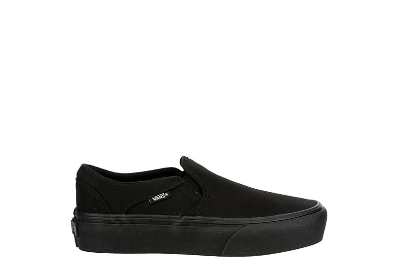 VANS Womens Asher Platform Slip On Sneaker - BLACK