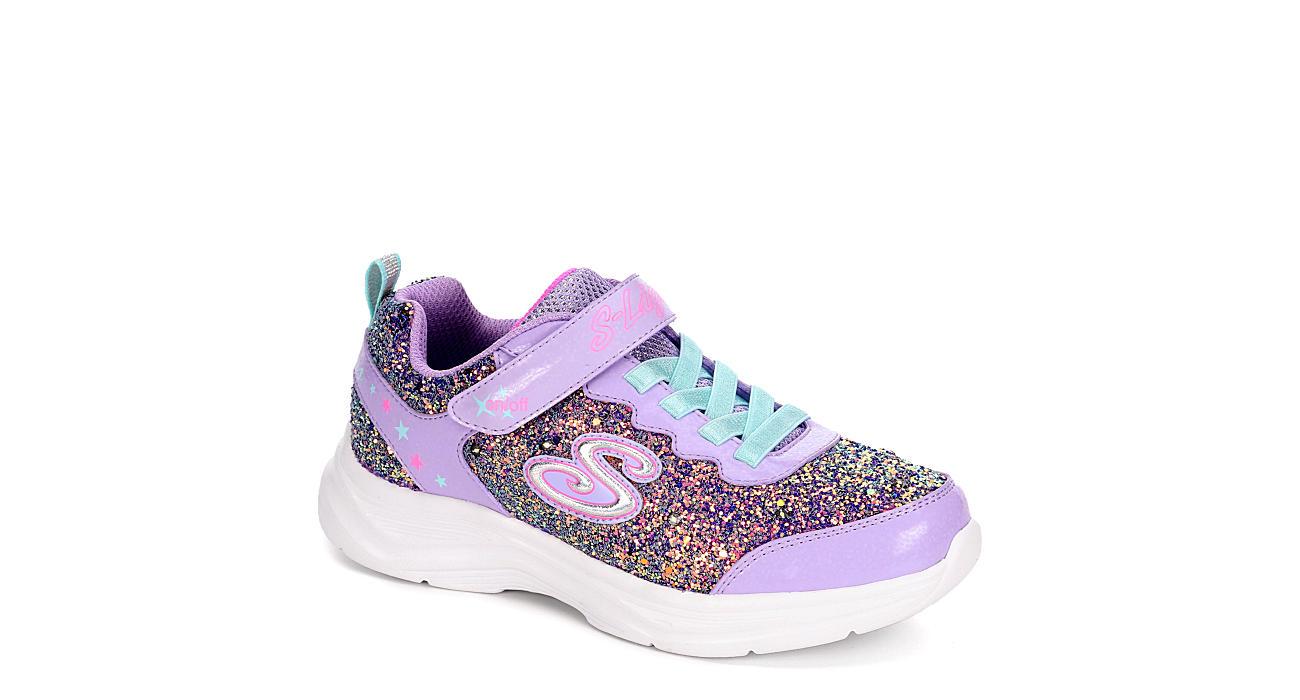 SKECHERS Girls Glimmer Kicks - Glitter N Glow Light Up Sneaker - LILAC
