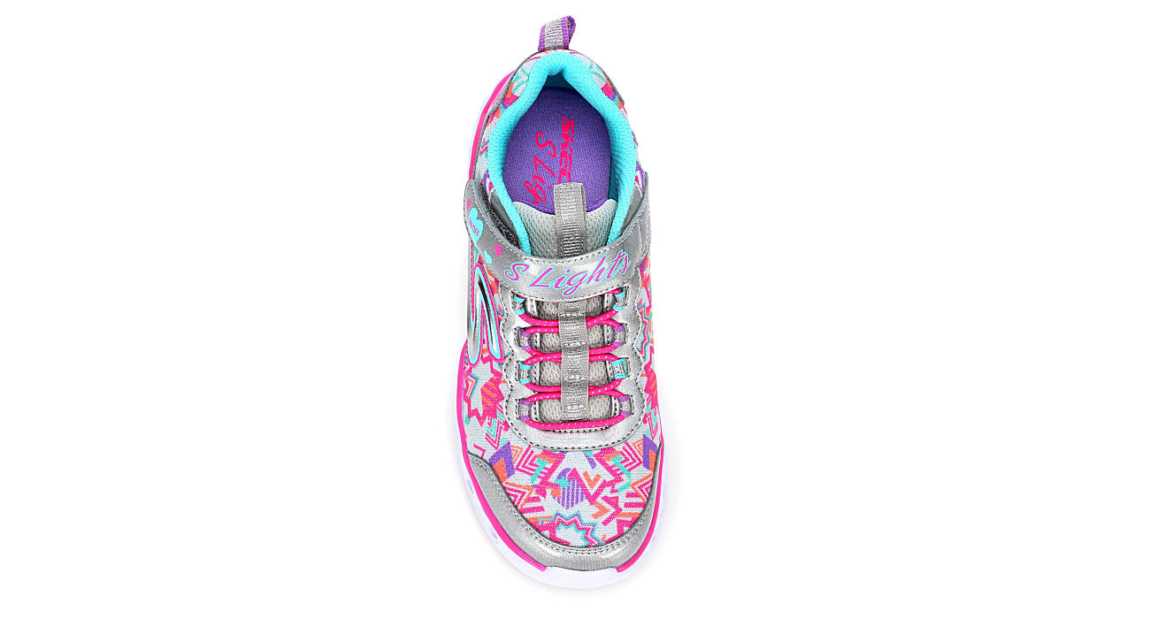 SKECHERS Girls Heart Lights Light Up Sneaker - SILVER