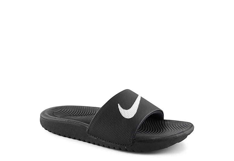 7f6c075ab059 Black Nike Boys Kawa Slide