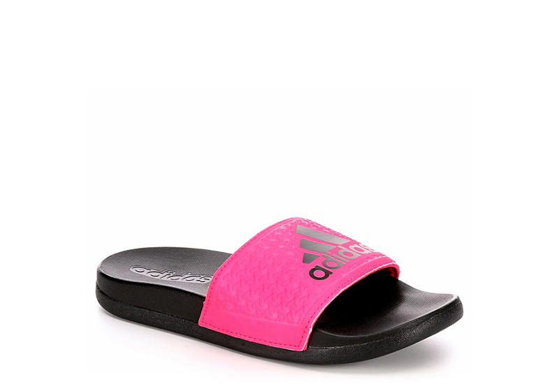 black adidas ragazze adilette diapositive rack stanza scarpe
