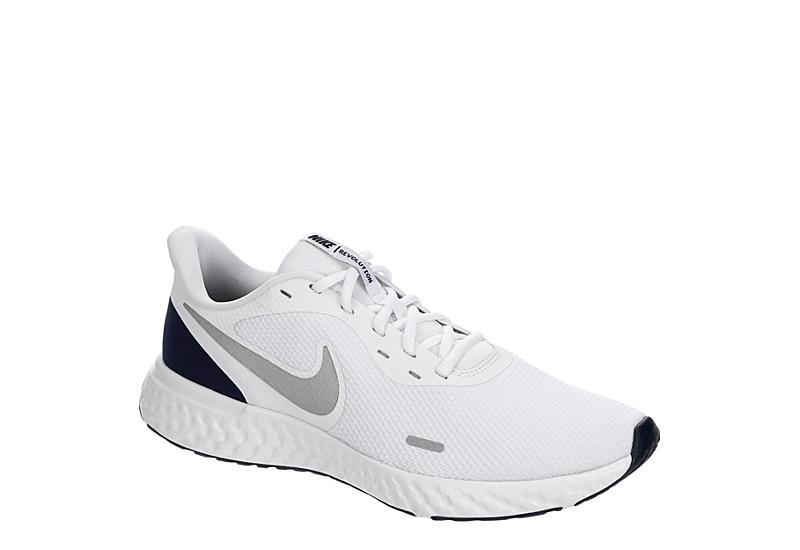 WHITE NIKE Mens Revolution 5 Running Shoe