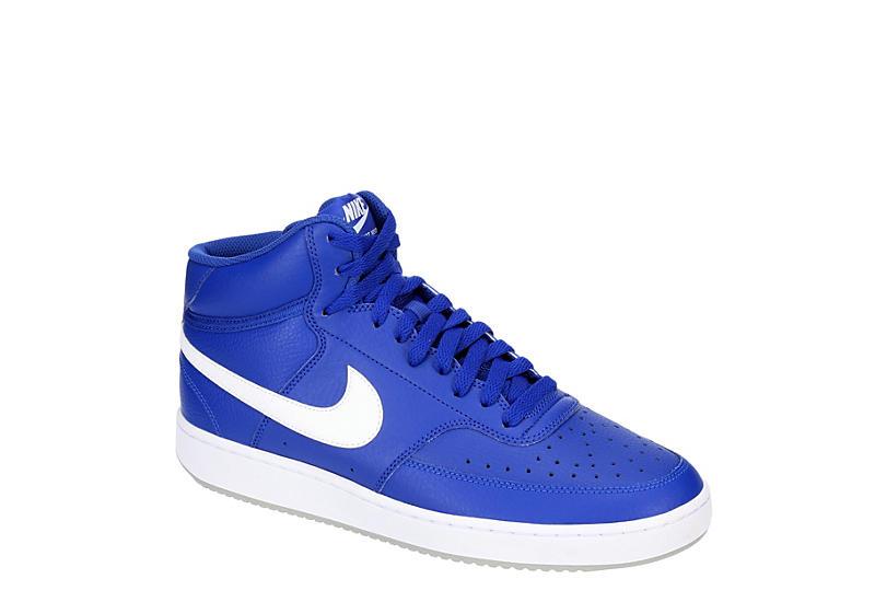 BLUE NIKE Mens Court Vision Mid Sneaker