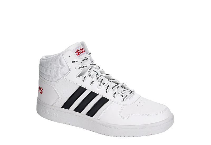 WHITE ADIDAS Mens Hoops 2.0 Mid Sneaker