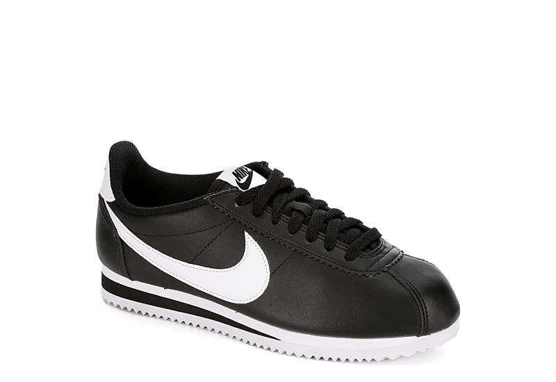 newest dba4a cb356 Black Nike Cortez Women s Leather Sneakers   Rack Room Shoes