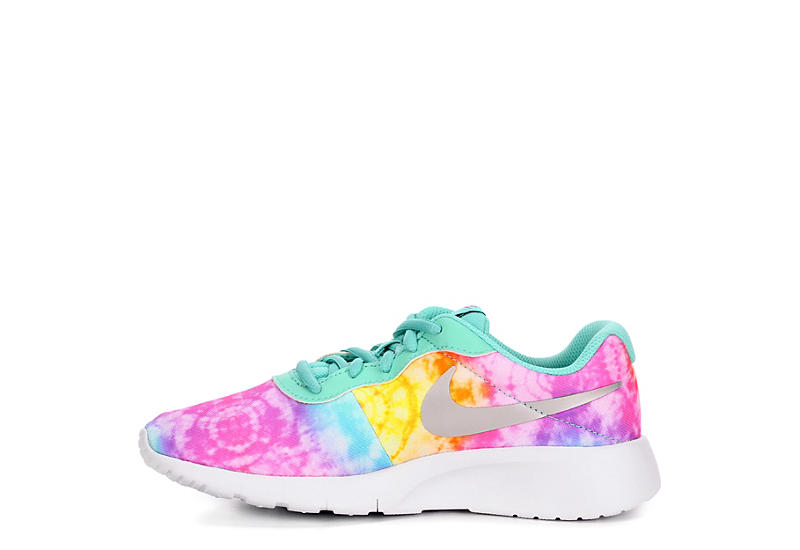 NIKE Girls Tanjun Tie Dye Sneaker - WHITE