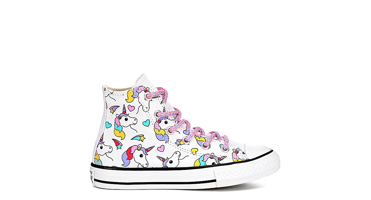 CONVERSE Girls Chuck Taylor All Star Rainbow Hi Top Sneaker - WHITE