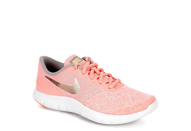 a8641be30226 Pink Nike Flex Contact Girls Knit Running Shoes