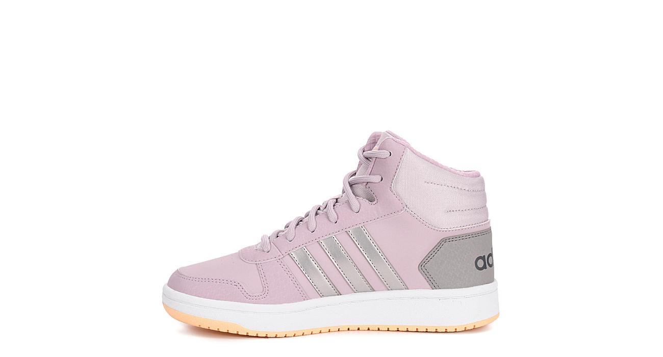 ADIDAS Girls Hoops 2.0 Mid Top Sneaker - PINK