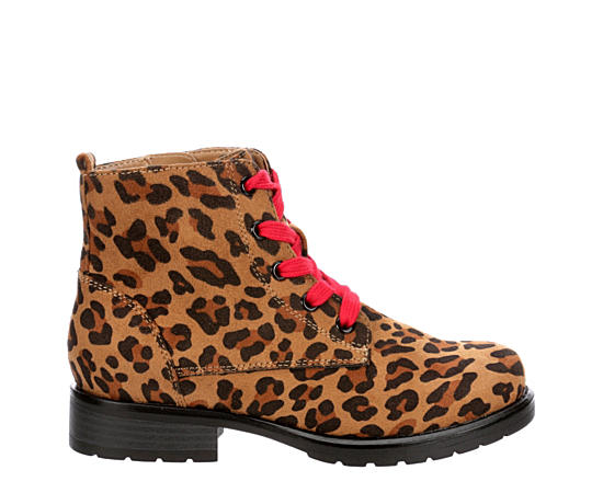 Girls Leopardess Combat Boot
