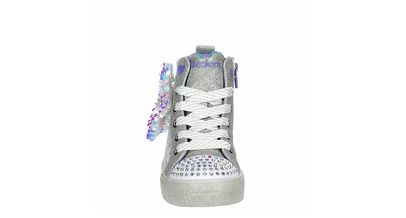 SKECHERS Girls Shuffle Brights Light Up Sneaker - WHITE
