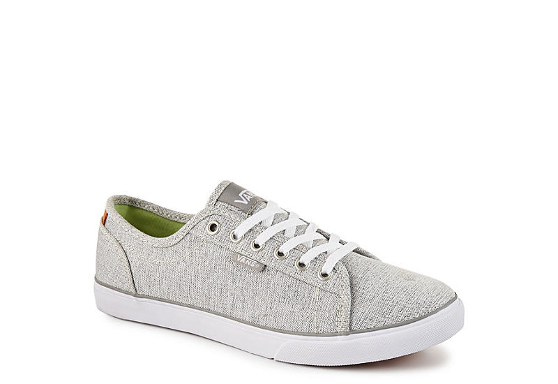 grey and white high top vans