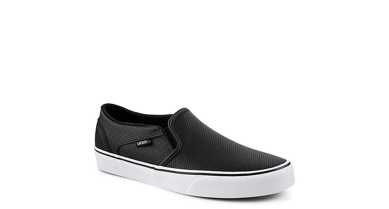 black leather slip on vans womens
