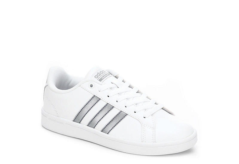 4a8ade661d1 White adidas Cloudfoam Advantage Stripe Women s Sneakers
