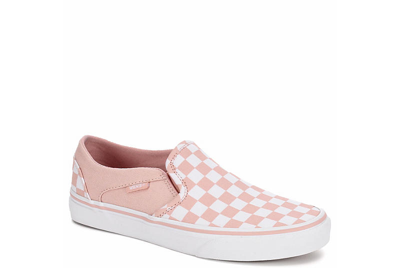 0325536e04 Pink   White Checkerboard Vans Asher Women s Slip-On Shoes
