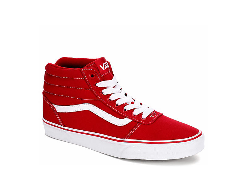 2aa2b04b8a76 Red   White Vans Ward Men s High Top Sneakers