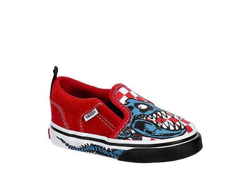 RED VANS Boys Infant Asher Td Slip On Sneaker