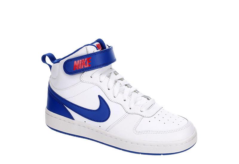 WHITE NIKE Boys Court Borough 2 Mid Sneaker
