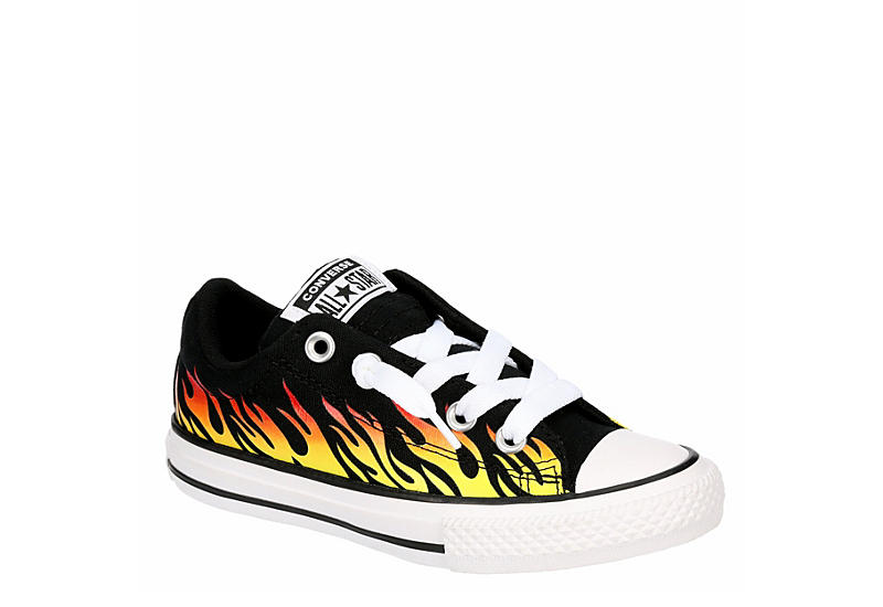 BLACK CONVERSE Boys Chuck Taylor All Star Street Flames Ox