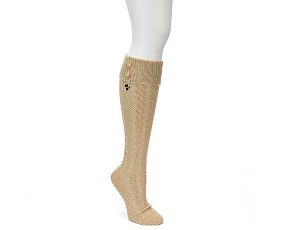 Womens Cuffed Button Top Knee High