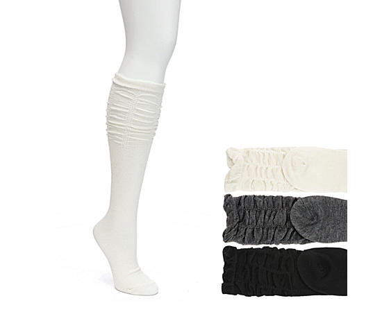 Womens 3 Pack Scrunch Top Knee High