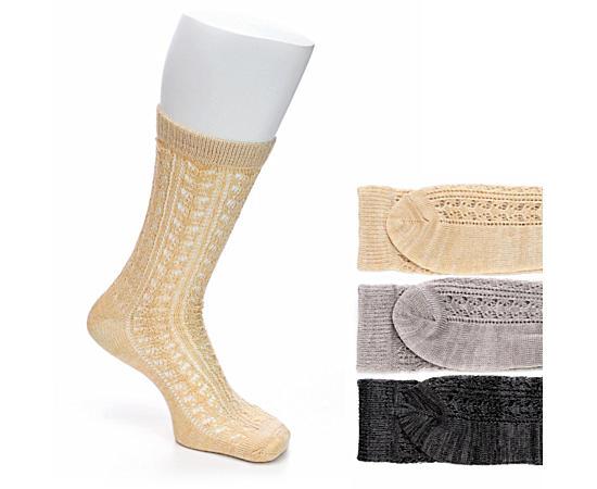 Womens 3 Pack Crocheted Ankle Sock